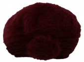 X-C5.1  Soft Fake Fur Hat with Flower Bordeaux Red