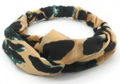 S-D3.4  H034-008 Headband with Animal Print Light Brown-Green