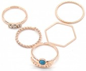 A-F6.4  R426-002R Ring Set 5pcs Rose Gold #17
