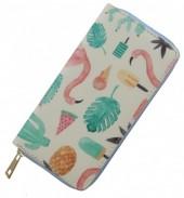 Wallet with Flamingo-Cactus-Icecream 19x10cm