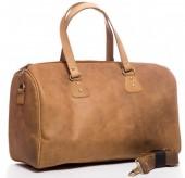 T-I1.3 BAG-921 Luxury Leather Travel-Sport Bag 47x32x16cm Light Brown