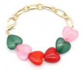 C-D6.2  B1561-047 Bracelet Hearts - Gold Multi Color