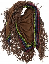 S-B3.1 Suedine Scarf with Fringes