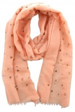 X-C5.2 S004-015 Scarf with Dots - Hearts and Golden Glitters 180x70cm Pink