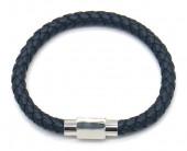 A-G10.1 B1643-001 S. Steel with Leather Bracelet 19cm BlueA-G10.1 B1643-001 S. Steel with Leather Bracelet 19cm Blue