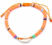 D-C15.1  B1925-009 Bracelet with Surf Beads and Shell Orange