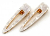 E-D8.2  H413-002 Hair Clip Set 2pcs Marble White