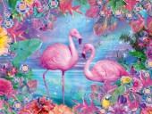 Q-H2.2 FZ301 Diamond Painting Set Flamingo Square Stones 50x40cm