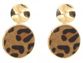 A-F18.1  E006-005 Earrings with Animal Print Gold-Brown