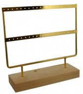 Q-D3.1 PK424-004 Wood with Metal Earring Display 23x22x7cm Chrome Gold