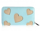 S-A7.1  Wallet with Hearts 19x11cm Blue-Gold