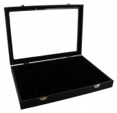 Y-D6.3 Display with Glass Top 24 Cabinets 35x25x4.5cm Black Velvet