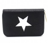 S-E6.2 WA011-006 PU Wallet with Star 13x9cm Black