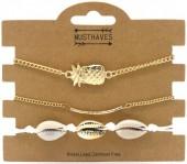 E-D16.2 B538-031 Bracelet Set 3pcs Shells-Pineapple White-Gold