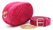 T-K3.1  BAG212-002 Velvet Combination Bag incl Belt 19x12x7cm Pink