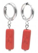 B-F18.3 E301-068S S. Steel Earrings with Stone 1.2x2.5cm Copper