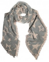 Y-F6.4 S109-001 Soft Thick Scarf with Stars 63x180cm Brown
