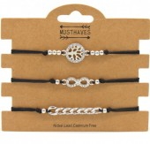 C-A10.1 B316-045 Bracelet Set 3pcs Chain-Infinity-Tree of Life Black