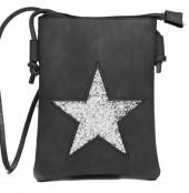 T-L7.1 BAG012-004 PU Bag with Glitter Star 20x15cm Black