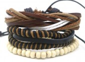 B517-005 Leather Bracelet Set with Wood and Rope