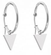 B-D2.2 E015-012SB Stainless Steel Earrings 25mm Triangle Silver