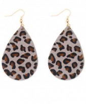 E006-003 Leather Earrings with Animal Print 7x4 cm Grey