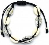 C-B4.3 B2001-032 Bracelet with Shells Silver-Black