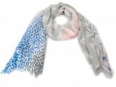 X-L4.2  S106-029 Scarf Aztek-Stars-Animal Print 180cm Blue-Grey-Pink
