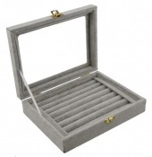 Y-F3.2  Display Box for Rings with Glass Top 20x15x5.5cm Grey Velvet