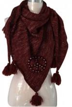 Z-A2.2 Scarf with Glitters-Pompons and a Studded Peace Sign 160x70cm Triangle Red
