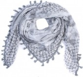 T-D7.2 S001-004 Scarf with Stars-Hearts-Peace-Studs and Tassels 140x140cm Grey