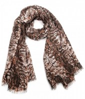 X-N3.2  S314-006 Scarf with Snake print 180x90cm Brown