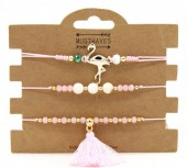 C-B2.2  B221-001 Bracelet Set 3pcs Flamingo and Tassel Pink