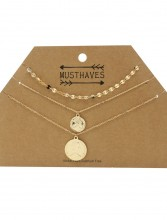 F-B2.3  N224-001 Necklace 3 layers Coins Queen Elizabeth Gold