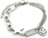 A-F4.4 B014-016S S. Steel Bracelet Smiley Star Silver