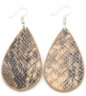 C-C6.1 E220-011 PU Snakeskin Earrings 6x3cm Brown