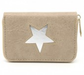 S-F6.4 WA011-006 PU Wallet with Star 13x9cm Light Brown