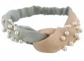 C-B14.1 Velvet Headband with Pearls Brown-Green