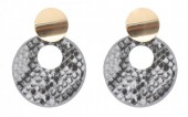 D-D15.1  E220-009 Earrings with Snakeskin 5.5x4cm Grey