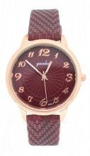WA023-001 Quartz Watch with PU Strap Rose Gold-Red
