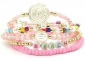B-B9.2  B536-040B Elastic Bracelet Set 6pcs Beach Pink