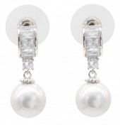 B-F6.2  E101-004 Luxury Earrings with Cubic Zirconia and Glass Pearl