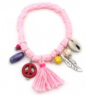 D-D2.1  B302-006 Elastic Surf Bracelet with Beads and Tassel Light Pink