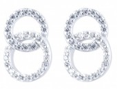 E-B3.5 E103-023 925 Sterling Silver Earrrings Crystal Circles