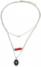 C-D2.2 N2020-005 S. Steel Layered Necklace 15mm charm Silver