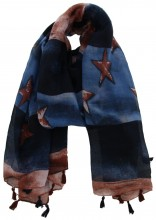 K-E6.2  S107-007 Scarf with Stars and Tassels 85x180cm Blue