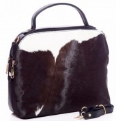 R-E5.2 BAG-902 Luxury Leather Bag 35x30x15cm Black with mixed color cowhide