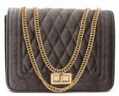 Y-D5.4 BAG122-004 Trendy Velvet Shoulder Bag Brown
