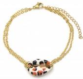 A-E6.2 B2121-009G S. Steel Bracelet Shell Leopard Gold