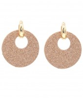 E220-003 Trendy Sparkling Earrings Round Copper